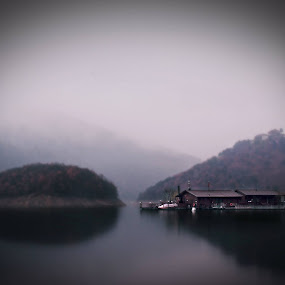 A house on the water by Kiril Krastev - Landscapes Waterscapes ( reservoir, fog, waterscape, 70d, bulgaria, vacha, , relax, tranquil, relaxing, tranquility )
