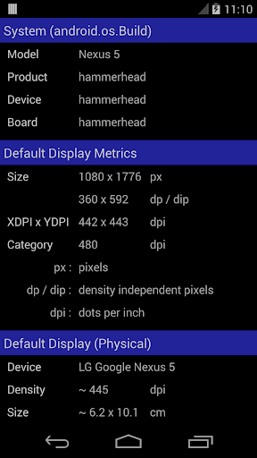 Screen Size DPI and Dev Info