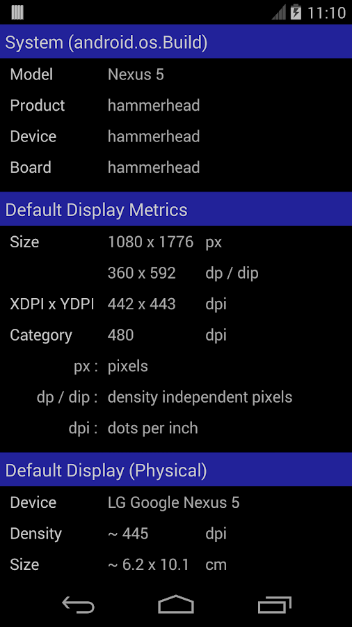 Screen Size / DPI and Dev Info- screenshot