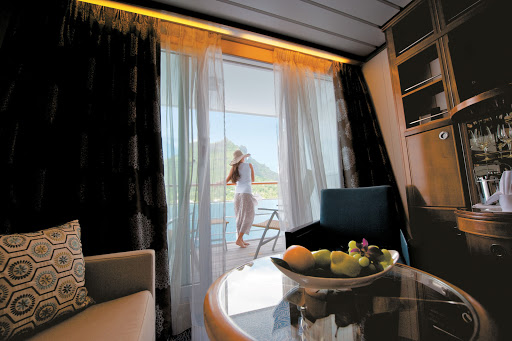A balcony stateroom aboard the Paul Gauguin.