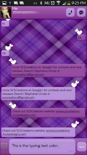 GO SMS - Purple Plaid 2