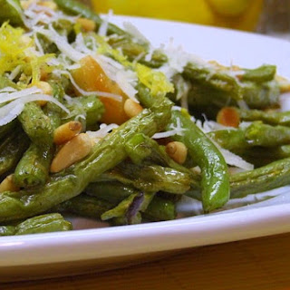 Roasted Green Beans with Lemon, Pine Nuts and Parmigiano