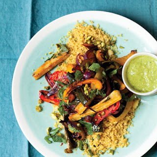 Roasted Vegetables with Green Olive Vinaigrette and Pistachio Couscous