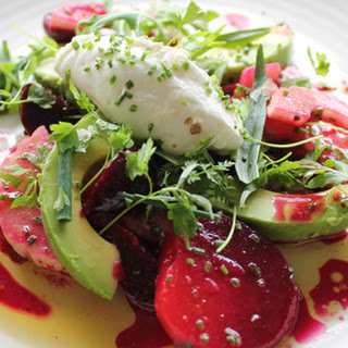 Roasted Beet, Avocado and Cucumber Salad with Yogurt and Herbs