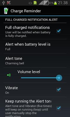 Charge Reminder - screenshot