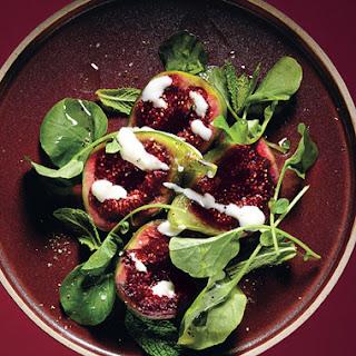 Fig Salad with Goat's Milk Yogurt and Pepper Cress.