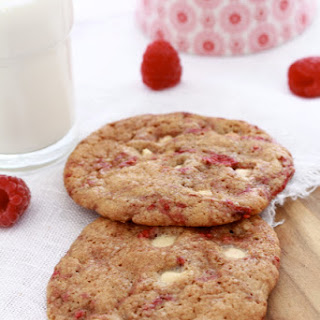 Raspberry, White Chocolate Chip Cookies.