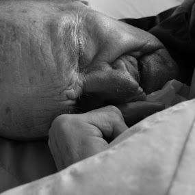 Nap Time by LeeAnn Heikkila - Black & White Portraits & People ( nap, grandfather, sleeping, elderly, sleep )