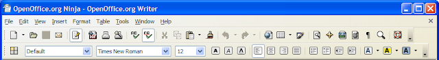 OpenOffice.org Writer 2.3.1 Industrial icons show in Windows XP