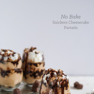 No Bake Snickers Cheesecake Parfait with Bailey's Hot Fudge Sauce