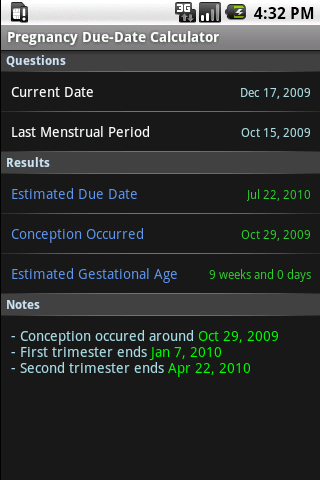 Pregnancy Due Dates Calculator (Android) reviews at Android