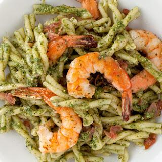 Pasta with Pesto, Shrimp, and Cured Ham.