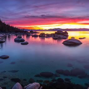 When Darkness Falls by Mike Lindberg - Landscapes Waterscapes ( alpine lake, reflection, sierra nevada, mountain lake, eastern sierra, california, nevada, tahoe, long exposure, sierra, lake tahoe )