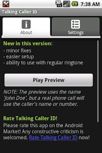 Talking Caller ID (free) - screenshot thumbnail