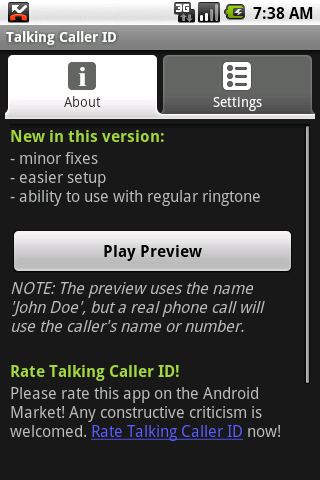 Talking Caller ID (free) - screenshot