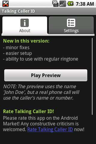 Talking Caller ID (free) - screenshot