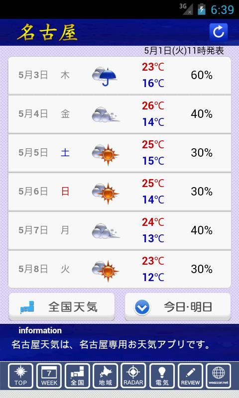 名古屋天気G - screenshot