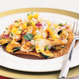 Grilled Fish Tostadas with Pineapple-Jícama Salsa.