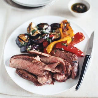 Grilled Flank Steak and Balsamic Vegetables.