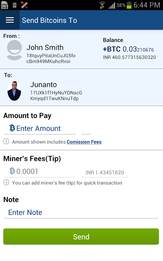 Easbit Mobile Bitcoin Wallet- screenshot