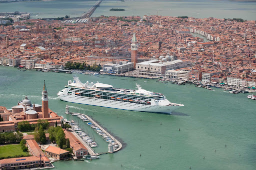 Grandeur-of-the-Seas-aerial-Venice -  Grandeur of the Seas sailing into Venice, Italy. The ship now sails from Baltimore, Maryland, with itineraries in the Caribbean, Canada and New England.
