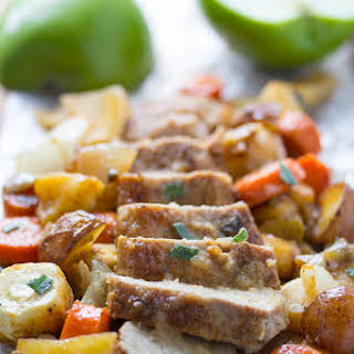 One Pan Roasted Pork Tenderloin with Apples, Sage, and Root Vegetables.