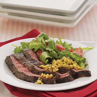 Skirt Steak with Green Olive Tapenade.