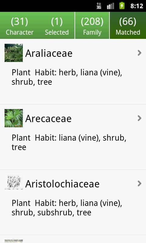 Key: Plant Families - screenshot