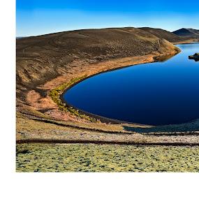 Deep Blue  by Þorsteinn Ásgeirsson - Landscapes Mountains & Hills ( highland, water, interior, cold, moss, lake, blue. sky )