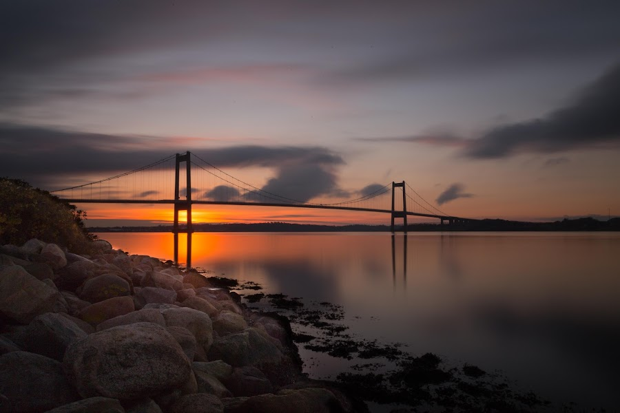 The Bridge by Kim Borup Matzen - Landscapes Sunsets & Sunrises ( sunset, long exposure, denmark, bridge, landsca, golden hour )