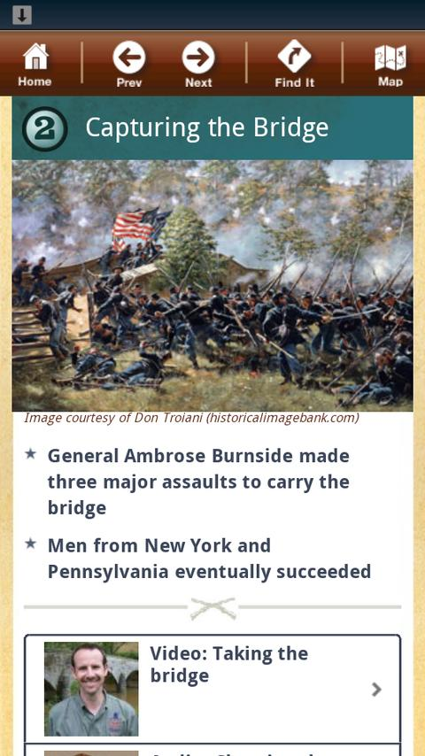 Antietam Battle App- screenshot
