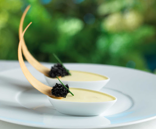 150-Central-Park-Royal-Caribbean-caviar - Care for caviar, dear? 150 Central Park aboard Oasis of the Seas offers guests an intimate dining experience overseen by James Beard Award-winning chef and Miami restaurateur Michael Schwartz.