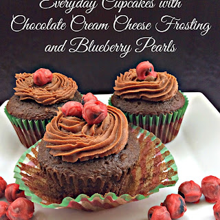 Everyday Cupcakes with Chocolate Cream Cheese Frosting and Blueberry Pearls.