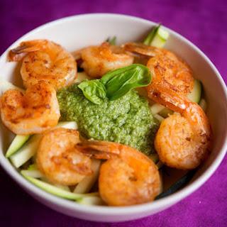 Paleo Pesto with Shrimp and Zucchini.