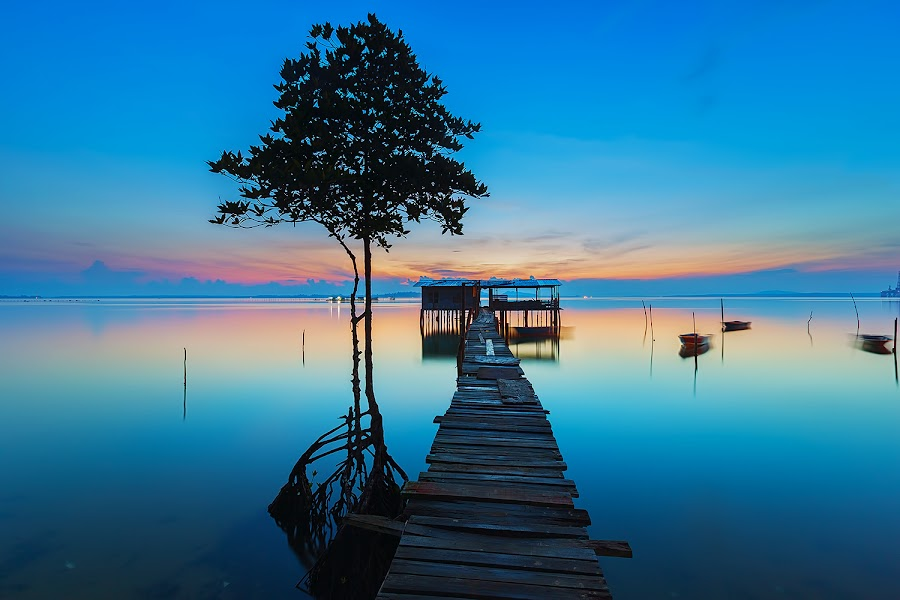 Blue by Lb Chong Jacobs - Landscapes Waterscapes
