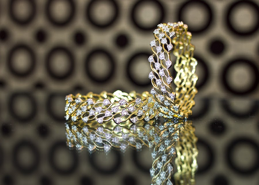 Bangles by Amit Aggarwal - Artistic Objects Jewelry ( reflection, jewellery, artistic, bangles, leaves, running,  )