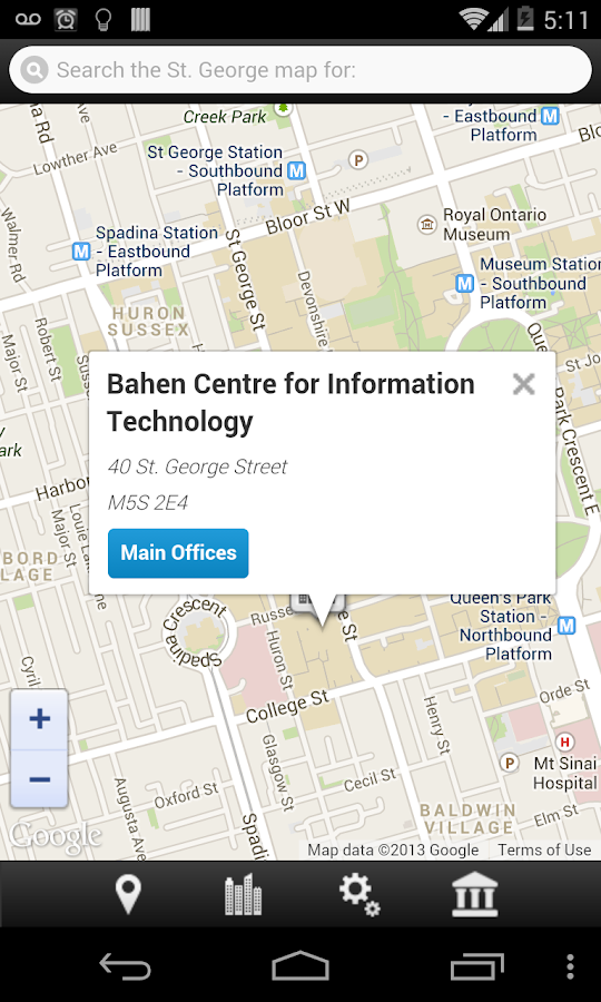 UofT Multi-Campus Map- screenshot