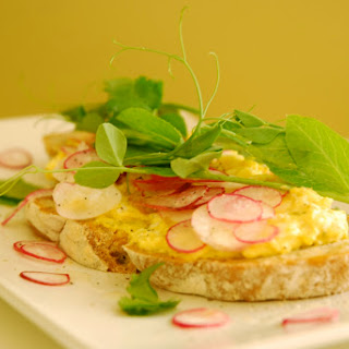 Curried Egg Salad, Radish and Fall Pea Shoot Tartine