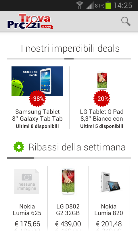 TrovaPrezzi prezzi e shopping - screenshot