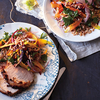 Mustard-Crusted Pork with Farro and Carrot Salad