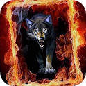 Wolf in Fiery Frame a live icon
