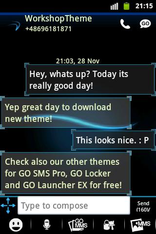 GO SMS Theme Blue Simple - screenshot