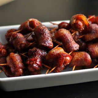 Spicy Brown Sugar Bacon Wrapped Smokies.