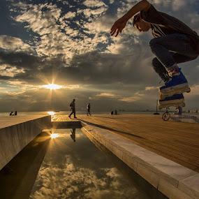 inline skating .. Part 1 by Diamantis Matthelis - Instagram & Mobile iPhone ( golden hour, sunset, sunrise )