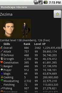 RuneScape Hiscores - screenshot thumbnail