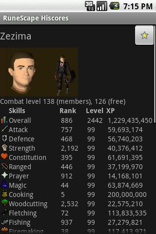 RuneScape Hiscores - screenshot