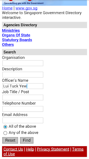 Singapore Government Directory