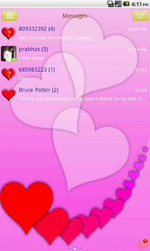 GO SMS PRO Lovely Hearts theme