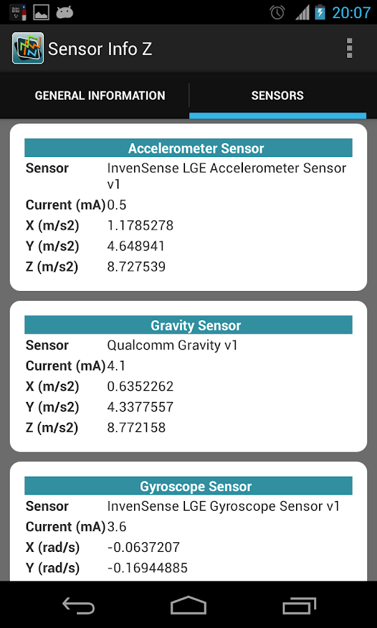 Sensor Info Z - screenshot