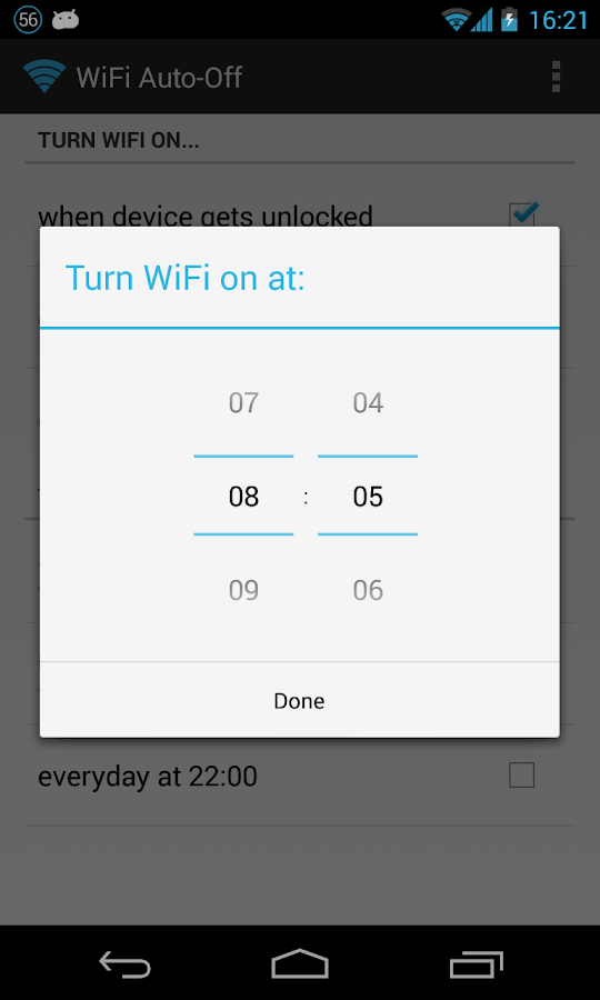 WiFi Auto-Off - screenshot